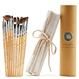 Dynamic Distraction Acrylic and Watercolor Paint Brushes Set of 12 - Comfortable Handle Size - Professional Artist Quality Brush - Perfect Gift for Artists, Adults and Students