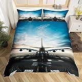 Kinder-Bettwäsche-Set für Jungen & Jungen, Königin Blau mit Himmelsmotiv, 3D-Druck, luxuriös, Mikrofaser, modernes Flugzeug-Muster, Bettdeckenbezug, für Herren, coole Tagesdecke mit 2 Kissenbezügen