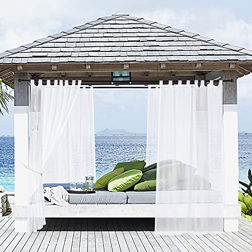 maxmill Outdoor Sheer Curtains for Patio Pergolas, Waterproof Tab Top Linen Textured Semi-Sheer Voile Curtain for Beach, Outdoor Gazebos, Cabana, Porch, with Tieback, White, 54 x 84 Inches 1 Panel