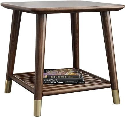 ZR- サイドテーブル、スクエアスモールコーヒーテーブル、リビングルームクルミ色2層収納、バルコニースナックテーブル (サイズ さいず : 40x40x50cm)