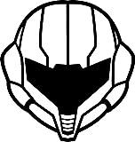 Fan Art Rendition Samus Helmet Symbol 5.5' Tall Metroid Custom Game Logo Die Cut Decal - Black Color