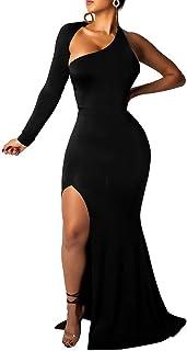 BEAGIMEG Women`s Sexy Elegant One Shoulder Backless Evening Long Dress