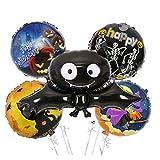 JSJJAER Globos de cumpleaños Globo Globo de la Hoja del Fantasma de Halloween Calabaza Decoración Bat araña Bruja Cráneo Negro for Halloween Decoración Decoracion (Color : 5pcs-3)
