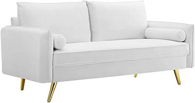 Modway Revive Performance Velvet Sofa, White
