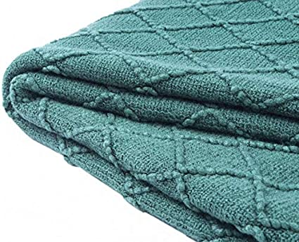 Bourina Textured Solid Soft Sofa Throw Couch Cover Knitted Decorative Blanket 60x80 Almond