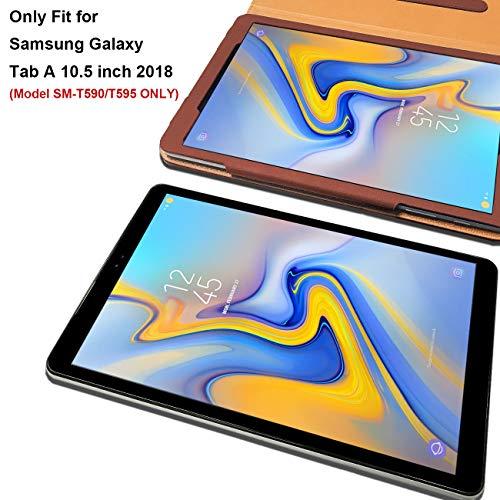 DAORANGE Hülle für Samsung Galaxy Tab A 10.5 SM-T590/T595, Premium PU Leder Schutzhülle Case mit Auto Schlaf/Wach Funktion und Dokumentschlitze für Samsung Galaxy Tab A T590/T595 10,5 Zoll 2018(Braun)