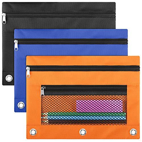LABUK Pencil Pouch 3 Ring Binder, 3 Pack 3 Color Zipper Pencil Pouch Pencil Case Bag with Double Pocket