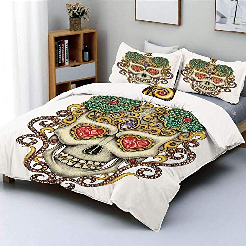Duvet Cover Set,Sugar Skull with Heart Pendants Floral Colorful Design Print DecorativeDecorative 3 Piece Bedding Set with 2 Pillow Sham,White Ivory and Yellow,Best Gift For Ki