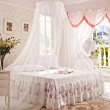 Generic White : 1Pc Elegant Round Lace Insect Bed Canopy Netting Curtain Dome