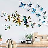 adesivi murali uccelli e farfalle e fiori albero, acquerello uccelli fiori decalcomania murale arte decorazione della casa per soggiorno camera da letto (uccello e farfalla)