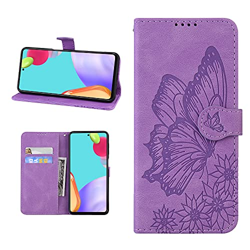 Mariposa Flip Stand Wallet Phone Bag para iPhone Card Holder Cases Samsung Galaxy Huawei Xiaomi Oppo Nokia Sony LG (marrón, Moto G30)