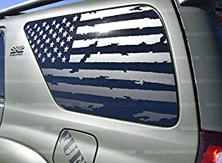 Skull Daddy Graphics Distressed USA Window Flags to fit Toyota 4Runner 2003-2009 (Both Sides)
