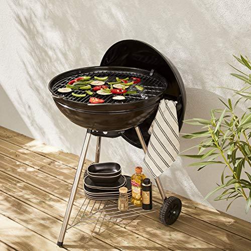 Alice's Garden Barbecue Charbon de Bois Ø57cm - Georges Noir émaillé - Barbecue avec aérateurs, émaillé, fumoir, récupérateur de Cendres