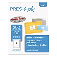 Pres-a-ply Labels for Laser & Inkjet Printers 5.x 8.5 White 100-Sheets 200/Bx (30643) by Pres-a-ply [並行輸入品]