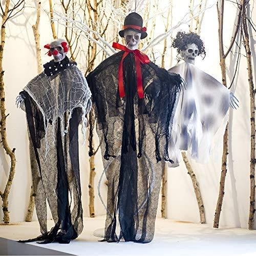 Ucradle 3 Stück Hängenden Skelett Gespenst Halloween Dekorationen Hanging Ghost für Vorgarten Patio Rasen Garten