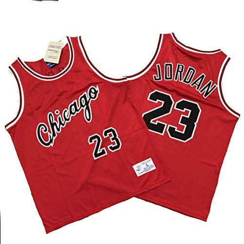YSA Abbigliamento da Basket per Uomo NBA Chicago Bulls 23# Michael Jordan Maglie Ricamate retrò, Maglia Sportiva Senza Maniche Traspirante Maglie Sportive, A, M (175CM / 65~75Kg)