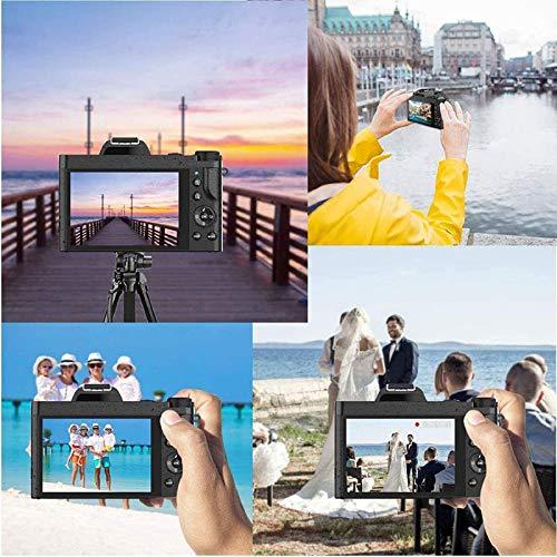 Rokurokuroku 4K Digitalkamera Videokamera, 1080P 48MP WiFi Vlogging Kamera Camcorder mit 16x Digitalzoom und 3,5-Zoll-IPS Touchscreen, Makroobjektiv, Weitwinkelobjektiv, Blitzlicht, 2 Akkus - Schwarz