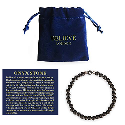 Believe London Name Bracelet with Jewellery Pouch & Meaning Card Strong Elasticated Sterling Silver Friendship Charm
