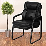 Flash Furniture GO-1156-BK-LEA-GG Black LeatherSoft Executive Side Reception Chair with Lumbar Support and Sled Base