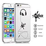 INKOVER Cover iPhone X & XS Custodia Cover Protettiva Soft Case Guscio Protettivo Bumper Trasparente Sottile Slim Fit TPU Gel Gomma Morbida Design Music Cuffie Deejay per Apple iPhone X & XS