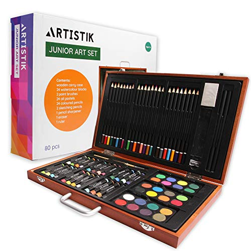 Artistik Wooden Art Set - (79 Piece) Deluxe Art Creativity Set and Professional Art Set Box for Colouring Beginners, Great Gift For Artists, Adults Teens, and Children