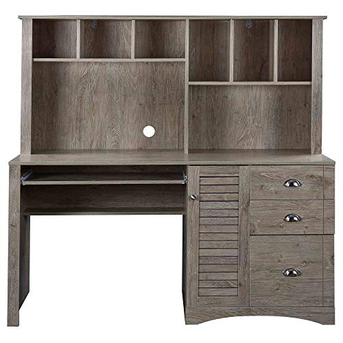 Tidyard Home Office Computer Desk with Hutch and Drawers/Hanging Letter-Size files/59inch Length Desktop Space-Saving, Easy to Assemble, Industrial, Oak