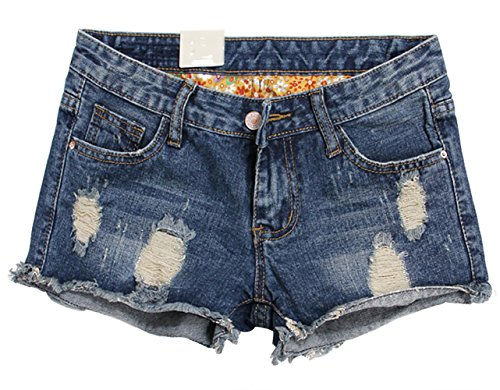 Thrivqyaf Womens Vintage Low Waist Fringe Denim Shorts Jeans Vary Styles (US 12/Tag 34, Blue Style 2)