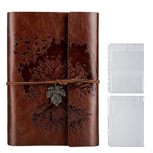 PU-Leder-Tagebuch, Blanko-Seiten, nachfüllbar, Vintage-Skizzenbuch, Reise-Notizbuch, Tagebuch, Geschenk für Mädchen, Jungen, Frauen, Männer, 23,3 × 16 cm, Braun