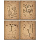 Table Tennis Patent Prints - Set of 4 (8 inches x 10 inches) Vintage Ping Pong Wall Art Decor Photos