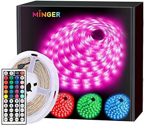 MINGER LED Strip Lights 5m, RGB Color Changing LED Strip Lights Full Kit with Remote for Home Kitchen Bedroom Bar Decoration
