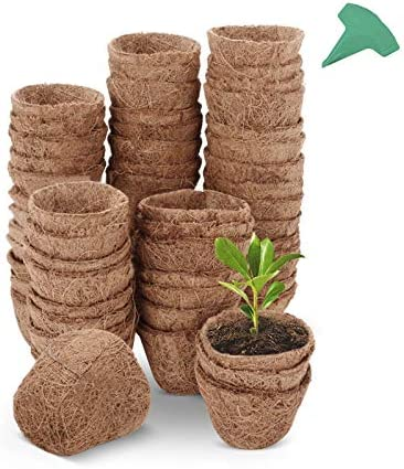 GROWNEER 60 Packs 3 Inches Coco Coir Seed Starter Pots with 15 Pcs Plant Labels Coco Fiber Nursery product image