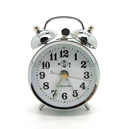 Starlet24 10cm Retro Uhr Aufziehwecker Glockenwecker Nostalgie Retro Doppelglocken Wecker silberfarben (#867)