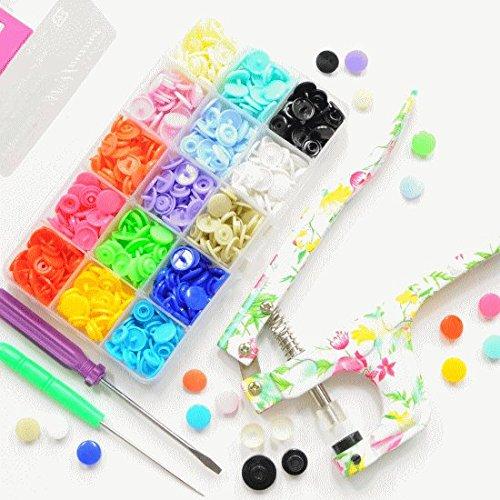 手作り工房 MY mama プラスナップ 12mm 10組15色 計150組と花柄ハンディプレスのセット プラスチックボタン スナップボタン ボタン