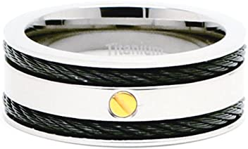 Accents Kingdom 8mm Mens Titanium Black Cable Ring Band with Gold Screw