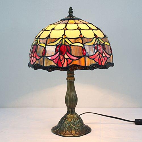 12 pollici pastorali Fiori d'epoca di vetro macchiato di stile di Moderno lampada da tavolo da letto lampada da comodino Lampada