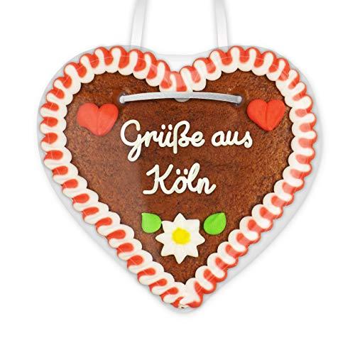 Lebkuchenherz 12cm mit Spruch - Grüße aus Köln | Geschenke & nette Grüße verschicken | Kleine Lebkuchenherzen bestellen | Lebkuchen Herz günstig online bestellen von LEBKUCHEN WELT