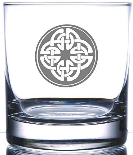 Irish Celtic Shield Knot Laser | Laser Etched Engraved Rocks Glass | 11 Ounce Whiskey Scotch Old Fashion Glass | Perfect for the Irish