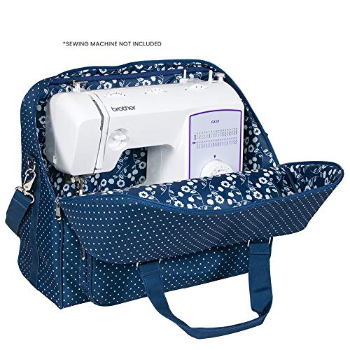 Deluxe Universal Sewing Machine Case, Blue - Portable Cover Tote Bag for Brother, Singer, Bernina & Most Machines - Carrying Travel Storage Carrier Supply Organizer for Accessories
