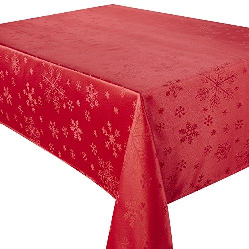 Christmas Blizzard Flocon de Neige Rouge 132,1 x 132,1 cm carré Nappe Gamme de Noël, Noël Idéal pour 4 Personnes