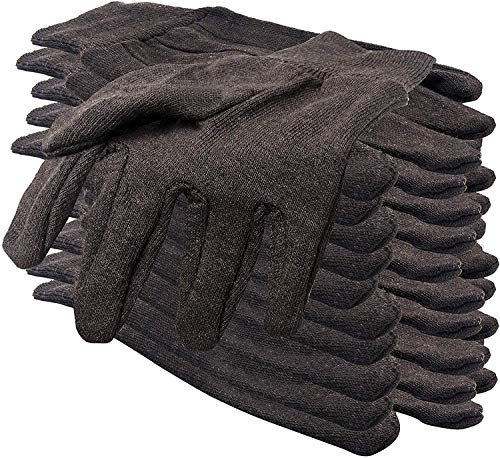 Pack of 24 Brown Jersey Gloves for Men 10'. Reusable Washable Glove 10 OZ with Elastic Knit Wrist. Cotton Polyester Gloves. Plain Breathable Gloves. Industrial Work Gloves. Men's size.
