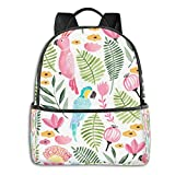 Summer Tropical Parrots Mountain Bicycle Laptop Backpack Fashion Theme School Backpack