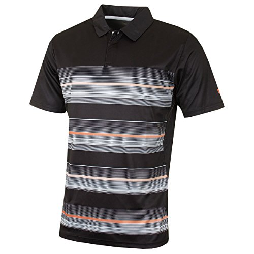 Island Green Golf IGTS1642 Coolpass Polo Respirant à Rayures pour Homme Noir Taille L