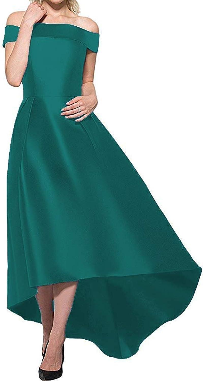 CiONE High Low Prom Dresses Satin Wedding Bridesmaid Dress Sleeveless