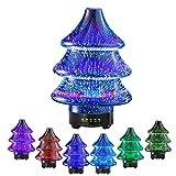 Diffusore di aromi a forma di albero di Natale, diffusore di olio essenziale ad ultrasuoni in vetro 3D rotante umidificatore per aromaterapia da 90 ml, spegnimento auto sicuro senza acqua