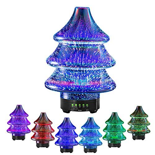 Difusor de aroma en forma de árbol de Navidad, difusor de aceite esencial ultrasónico de vidrio 3D giratorio, humidificador de aromaterapia de 90 ml, apagado automático seguro sin agua