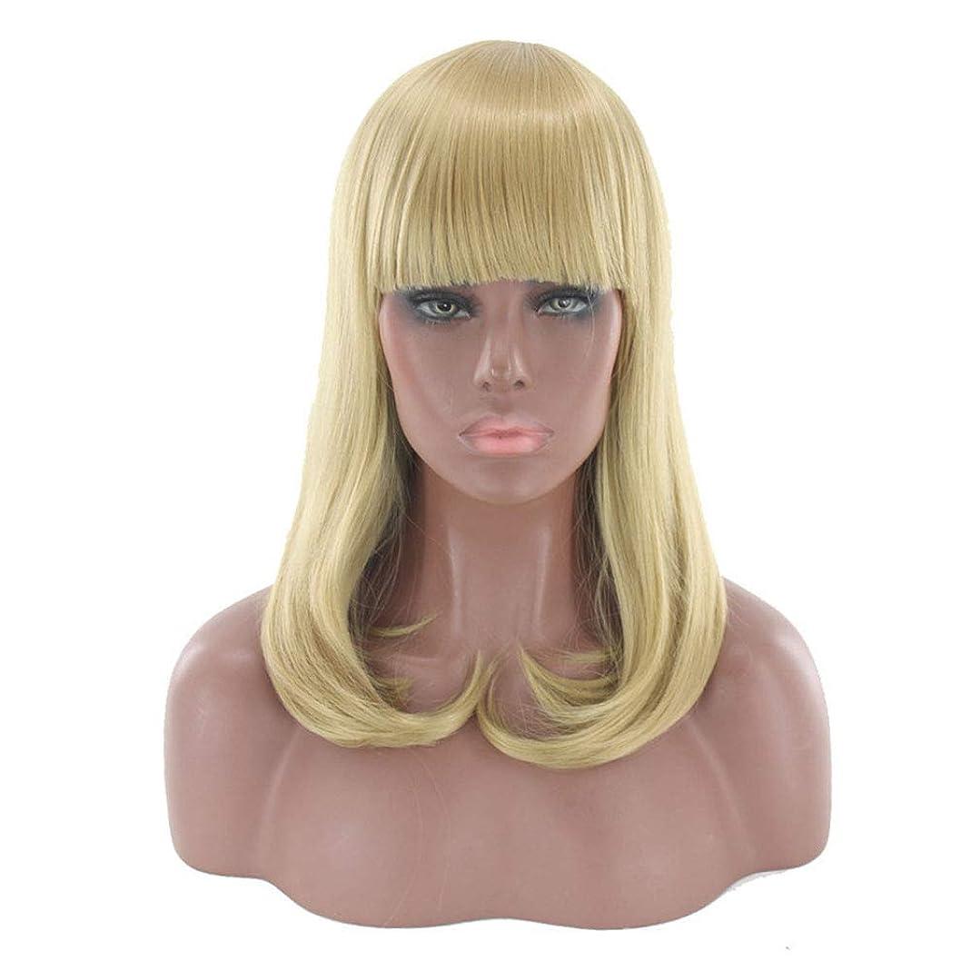 懇願する肉腫うめきYrattary かつら女性のボボ波頭長い巻き毛のゴールドバックルナシヘッド化学繊維かつら合成毛髪のかつらロールプレイングかつら (色 : Photo Color, サイズ : 42~43cm)