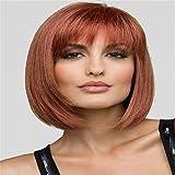 ショートストレートヘアウィッグ、リアルボブウィッグとしてのファッション耐熱合成、コスプレ用の調整可能なウィッグ、デイリーウェア、パーティー