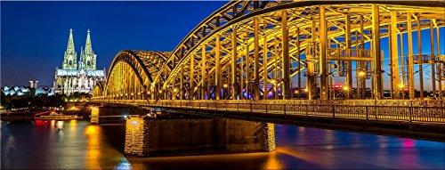 artissimo, Glasbild, 80x30cm, AG3336A, Kölner Dom, Köln bei Nacht, Bild aus Glas, Moderne Wanddekoration aus Glas, Wandbild Wohnzimmer modern