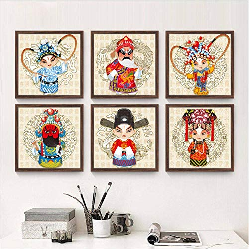 Jwqing Chino Beijin Opera Personaje de Dibujos Animados Lienzo Pintura impresión Cartel Pared Arte Cuadros para Sala de Estar decoración del hogar (40x40cmx6 sin Marco)