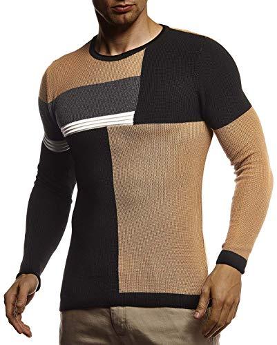 Leif Nelson Pull en tricot pour homme avec col rond - Pull en tricot fin pour l'hiver - Col rond - Slim fit - Manches longues - Col rond - LN2030 - Noir - Large
